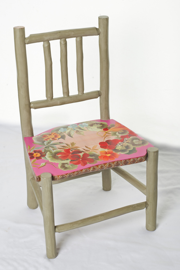 Flora, one of a pair of chairs handpainted by Sue and made by Alison Ospina of Green Wood Chairs.