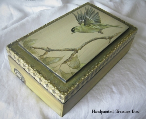 Handpainted Bird Treasure Box with Snail