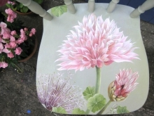 Allium. Handpainted Chair. Chive. Pink.
